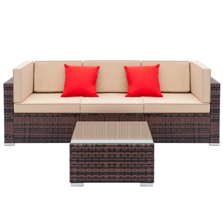 Wondrous 4 Pcs Patio Furniture Sets Clearance Wicker Patio Furniture With 3 Sofas 2 Red Pillows 1Pc Coffee Table Weather Resistant Bistro Sets Durable Andrewgaddart Wooden Chair Designs For Living Room Andrewgaddartcom