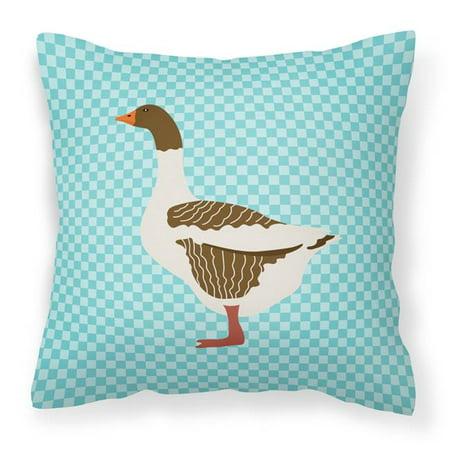 Carolines Treasures BB8077PW1818 Pomeranian Rogener Goose Blue Check Fabric Decorative Pillow, 18 x 18 in. - image 1 de 1