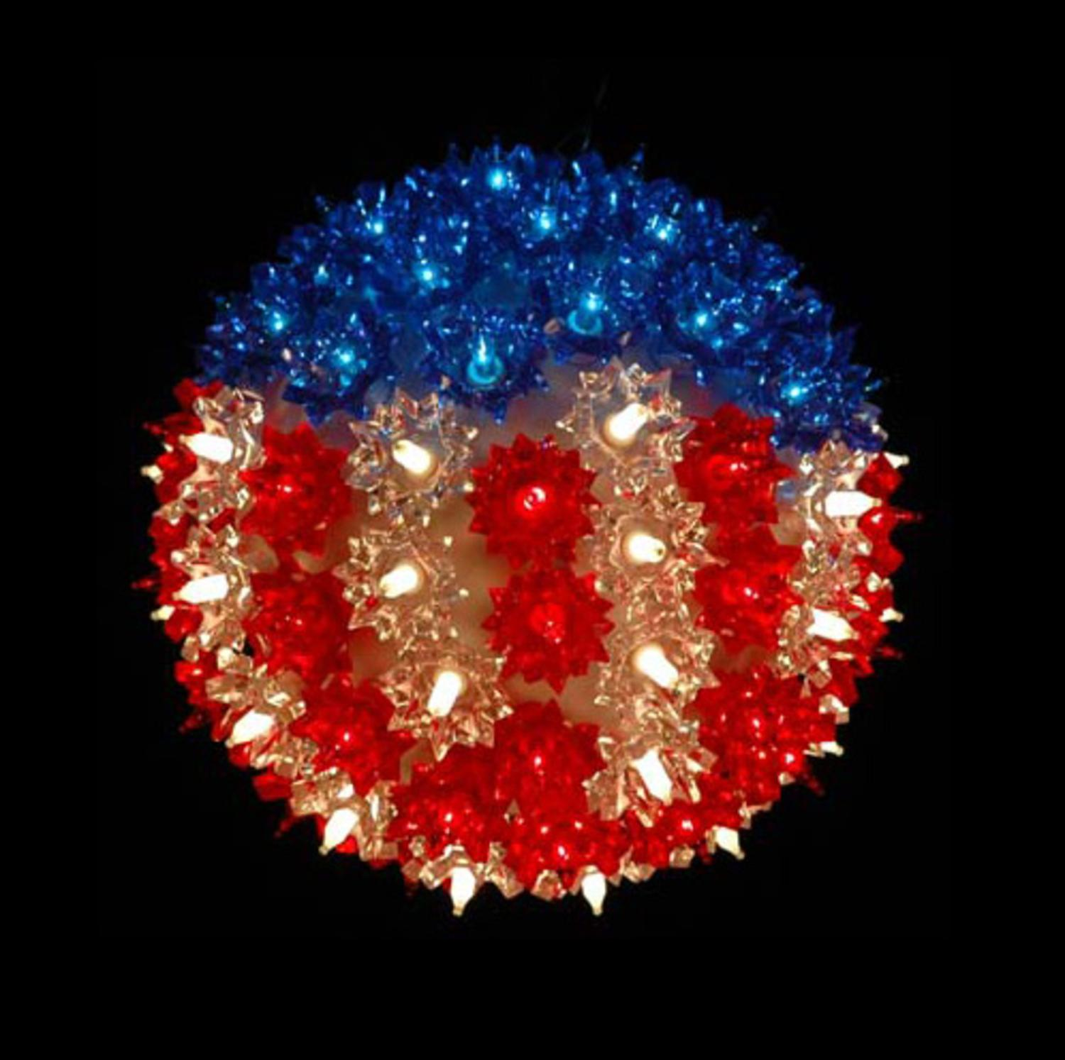 "7.5"" Patriotic U.S Flag Lighted Hanging Starlight Sphere Ball Decoration"