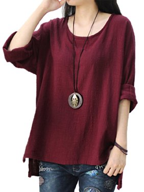 7d1570ed33 Product Image Womens Round Neck Long Sleeve Loose Asymmetric Tops