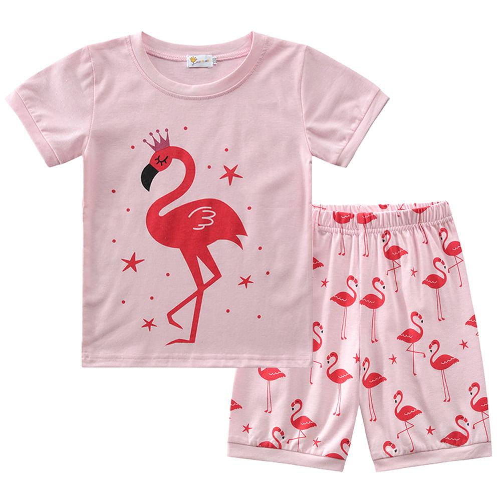 Little Hand Pajamas for Girls Short Sets Kids 100/% Cotton Flamingos Sleepwear Toddler Pjs Summer Clothes Shirts