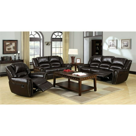 Furniture Of America Roebuck 3 Piece Leather Reclining Sofa Set