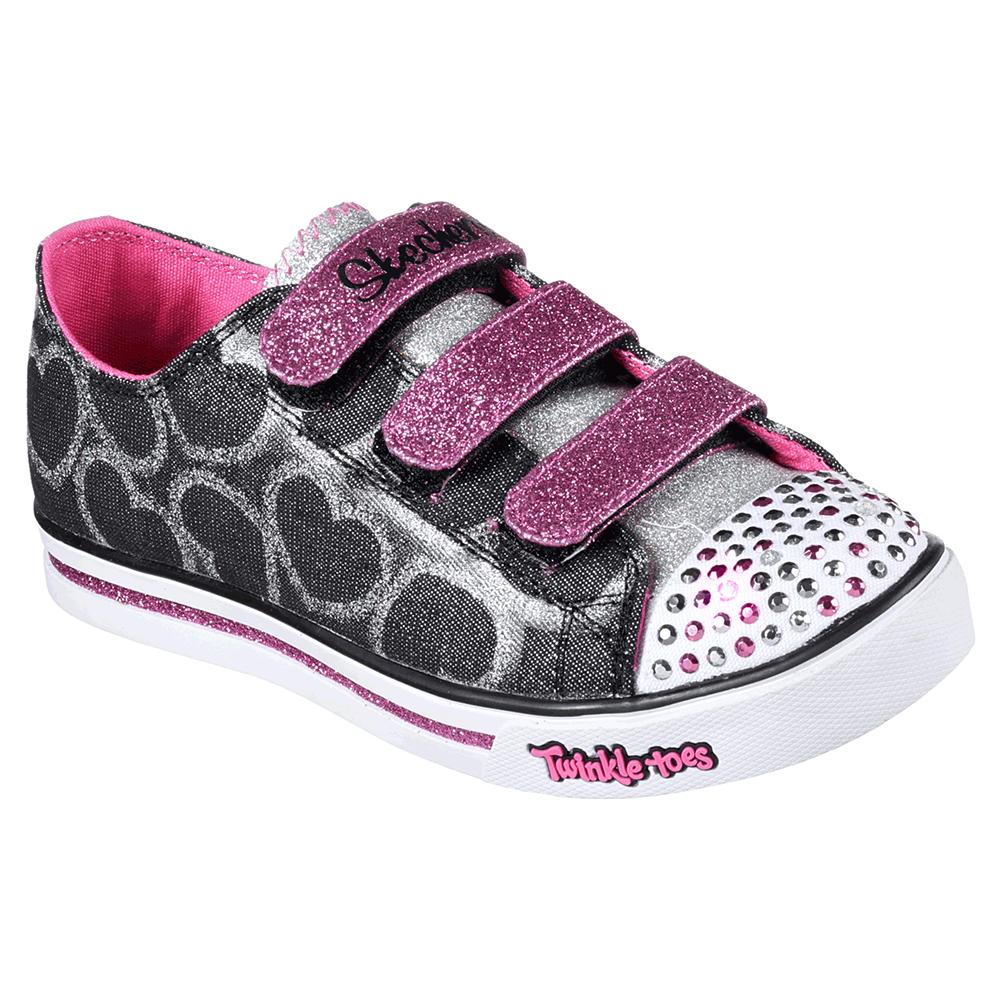 Skechers Girls Twinkle Toes Shuffles Glitter Heart