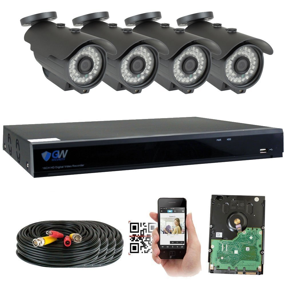 GW 8 Channel 5MP 1920P Home Video Outdoor Security Camera System w/ 4 5MP CCTV Cameras, 8CH 2TB DVR Surveillance Kit, 100ft Night Vision