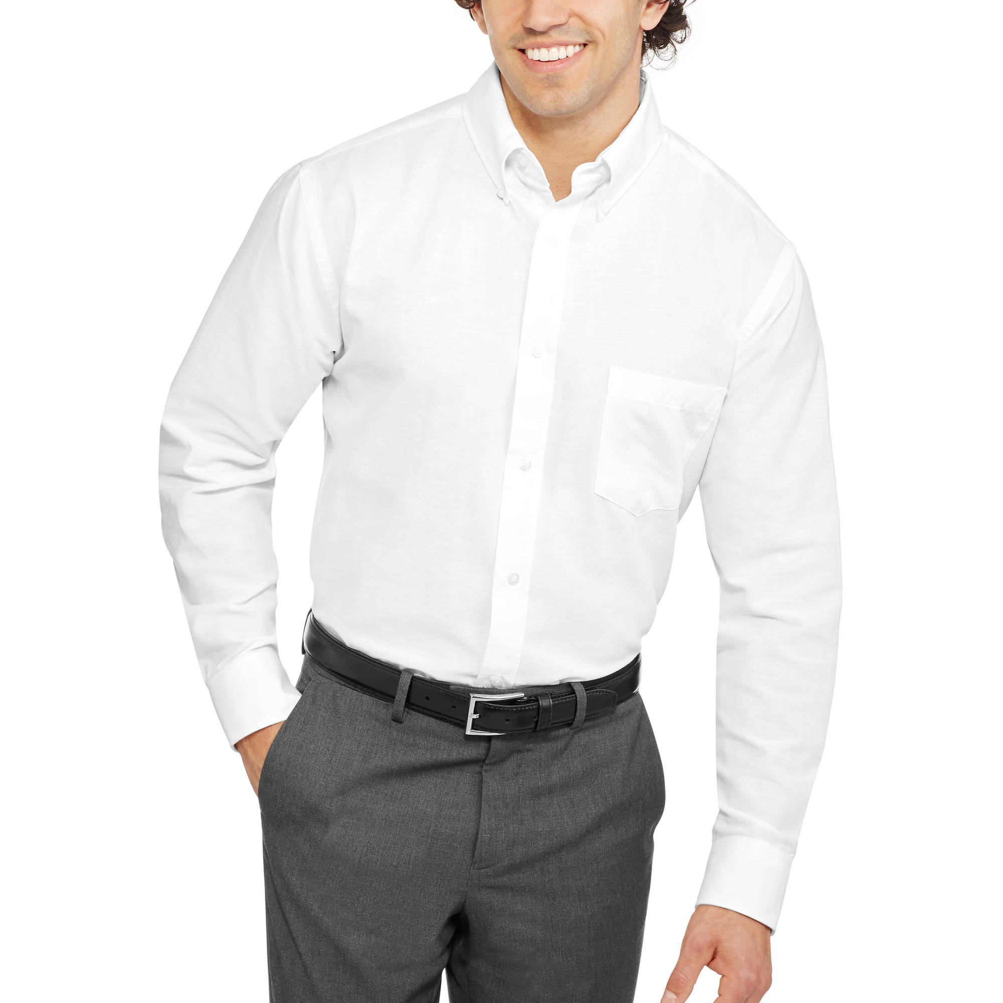 George - Men's Long-Sleeve Oxford Shirt - Walmart.com