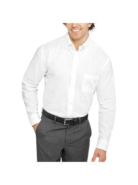 George Men's and Big Men's Long Sleeve Oxford Shirt, Up to 3XL