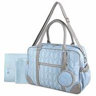 Wendy Bellissimo Quilted Duffle Diaper Bag (Blue/Grey)