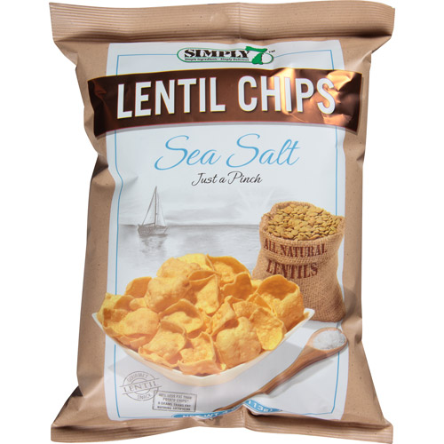Simply 7 Sea Salt Lentil Chips, 4 oz, (Pack of 12)