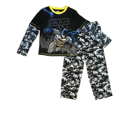 DC Comics Batman 2-Piece Boys' Pajama Sleepwear Set, Black/Grey, Sizes XS, S, M, L