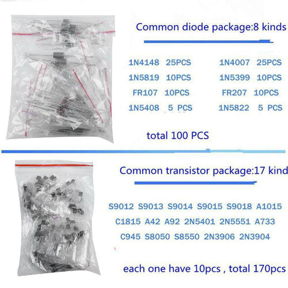 1390pcs Electronic Components Kit Basic Electronics Transistors Assortment Kits
