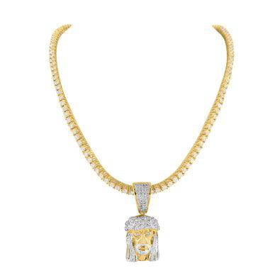 Simulated Diamond 14k Yellow Gold Finish Tennis Chain Jesus Face Pendant Combo