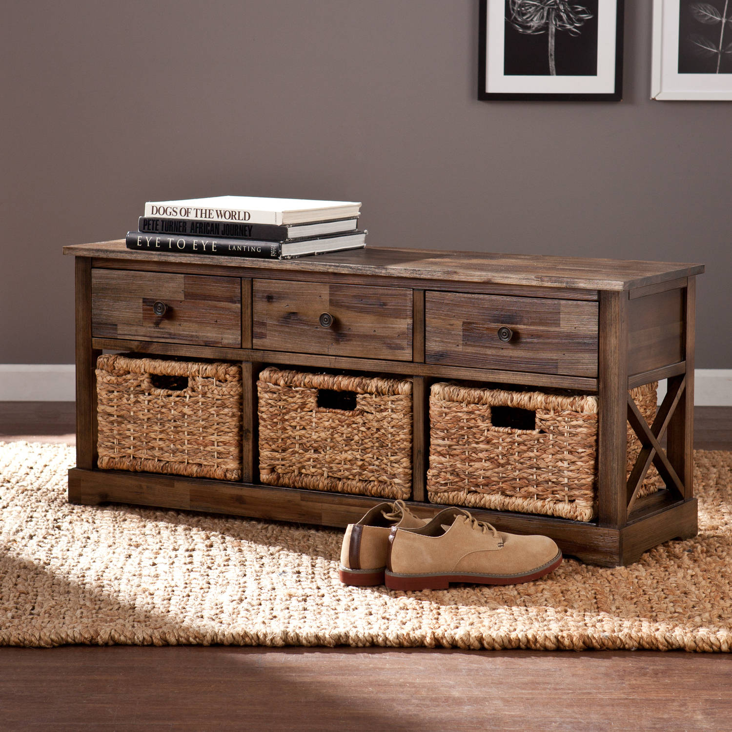 Southern Enterprises Corrine Storage Bench with 3 Baskets, Distressed