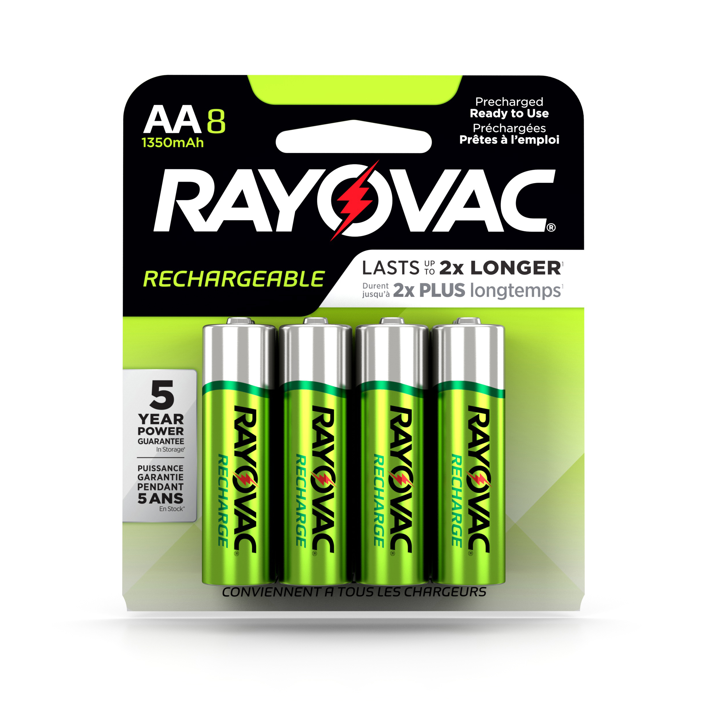 Rayovac Recharge NiMh, AA Batteries, 8 Count