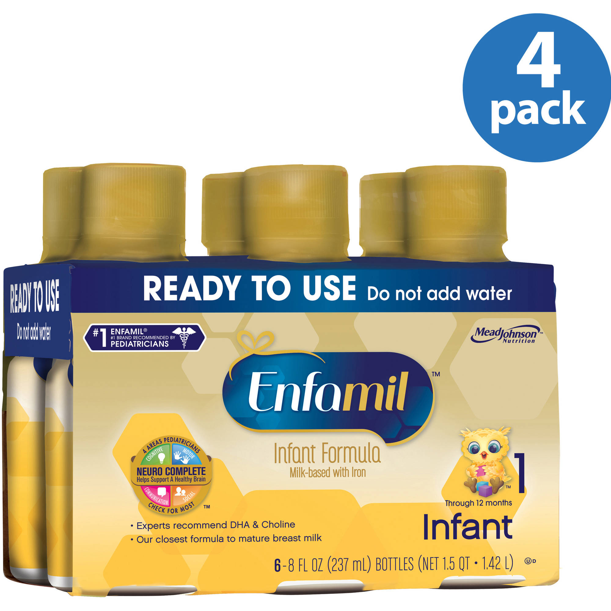 Enfamil Infant baby formula - Ready-to-Use 8 fl oz Plastic Bottles - 6ct, Pack of 4