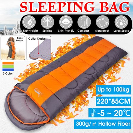 [1kg-2kg Load] Temp Ranges (-5℃ - 20 ℃) 220x85CM 4 Seasons Portable Winter Sleeping Bag Warm Cold Weather Waterproof Envelope Sleeping Bed with Compression Sack for Adults Kids Outdoor Camping Hiking Cold Weather Sleeping Bag
