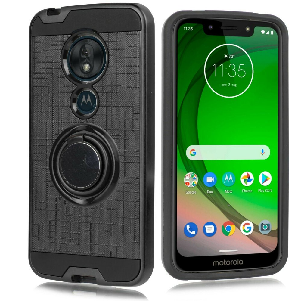 "for 5.7"" Motorola Moto G7 Play 360 Degree Rotating Ring Kickstand Metal Grids Pattern Resistant Slim Bumper Grip Shockproof Raised Bevel Design Dual Layer Protective Phone Case [Black]"