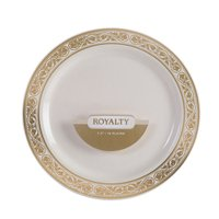 """Royalty 6"""" Dia. Plastic Dessert Plates Ivory with Gold Band,Pack of 10 EA"""