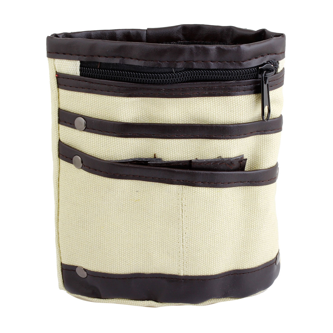 Beige Canvas 4 Pockets Zip Up Closure Money Card Waist Bag Holder for Men