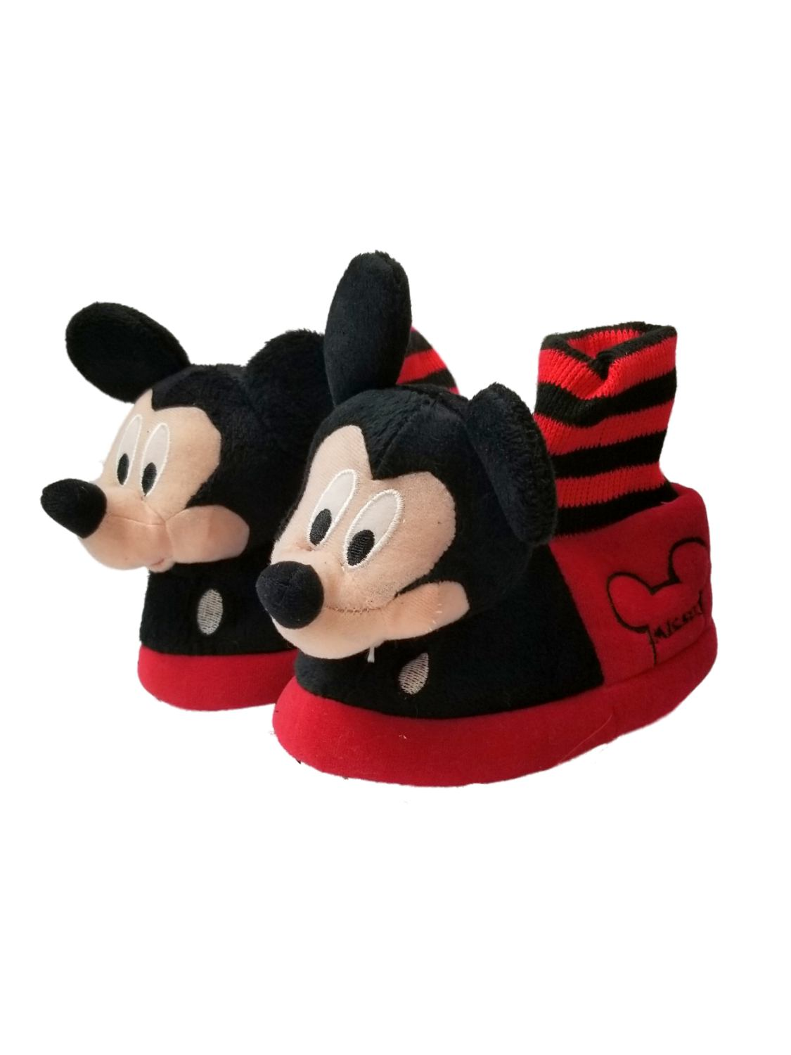 Disney Mickey Mouse Little Boys Slippers 7-8 Red//Black
