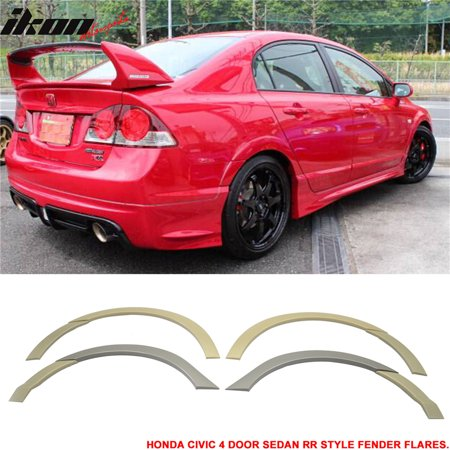 Fits Honda Civic Sedan 06-11 Front + Rear Fender Flare Unpainted ABS RR - Fender Material