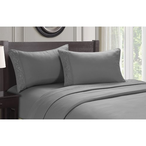 Alcott Hill Ledbury Twin Size Soft Touch Venus Embroidered Sheet Set