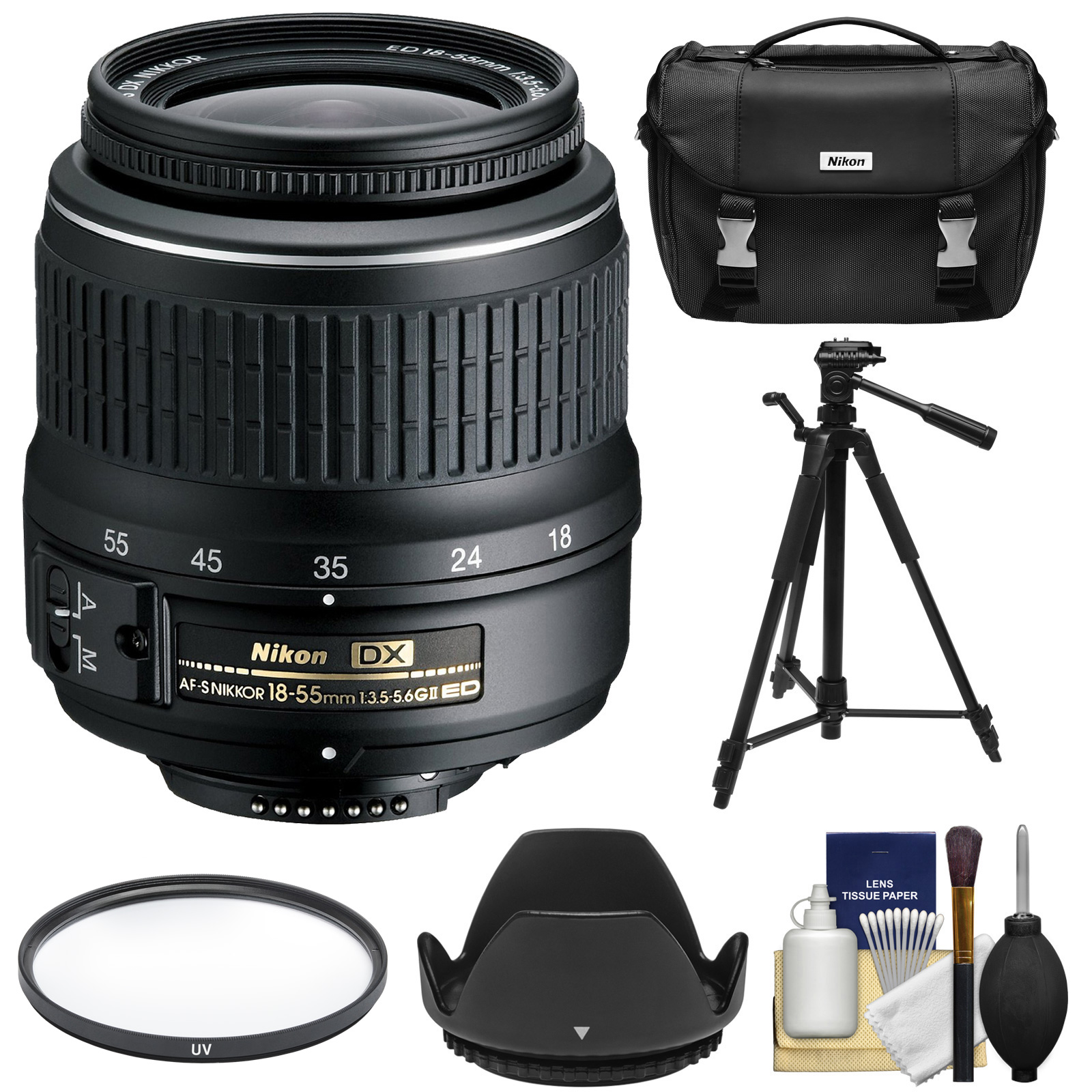 Nikon 18-55mm f/3.5-5.6G II DX AF-S ED Zoom-Nikkor Lens with Filter + Hood + Case + Tripod Kit for D3200, D3300, D5300, D5500, D7100, D7200 Cameras