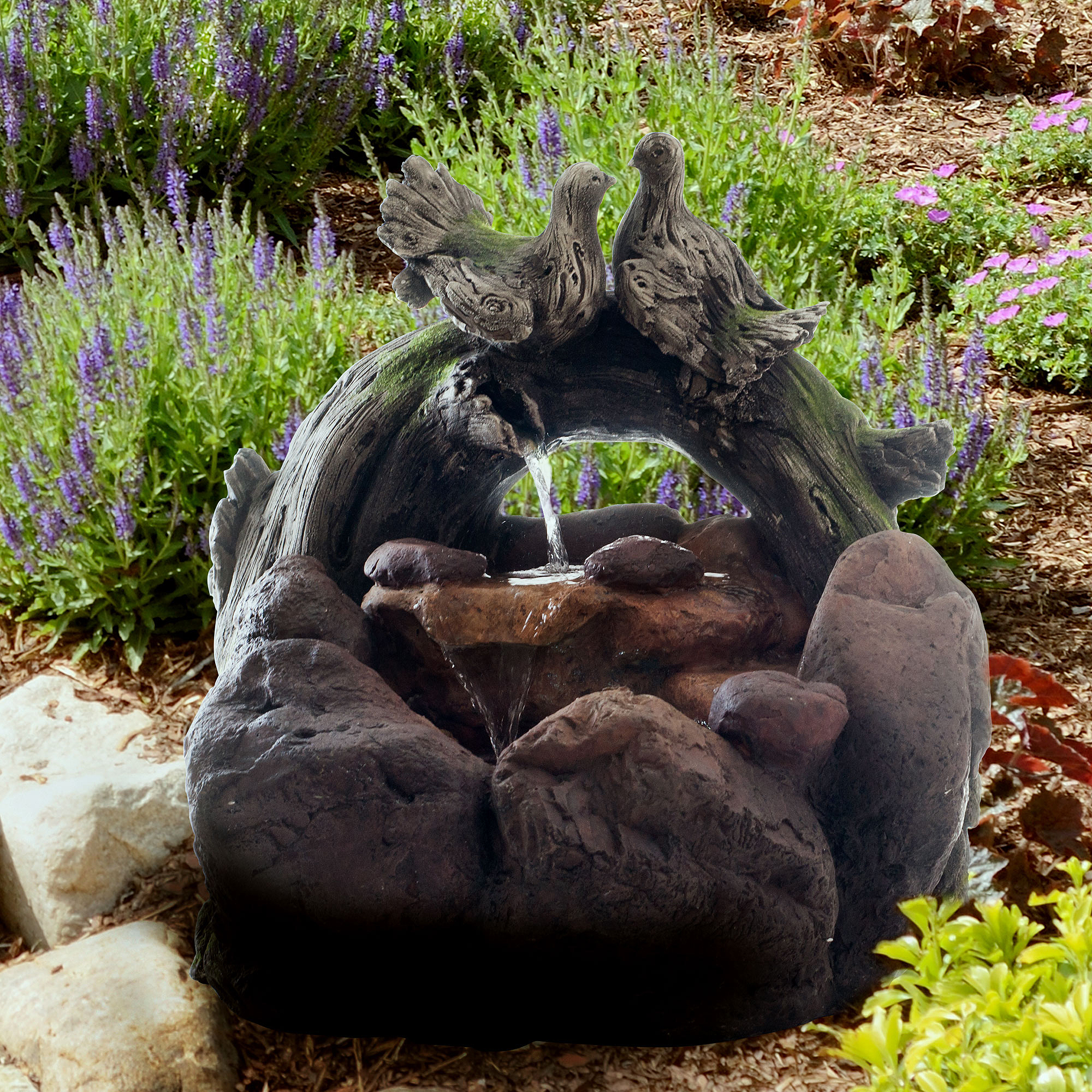Outdoor Water Fountain With Cascading Stone Waterfall, Wood Logs, Doves And  Soothing Sound For