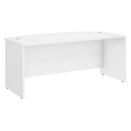 Bush Business Furniture Studio C 72W x 36D Bow Front Desk in White Veneer Bow Front Desk