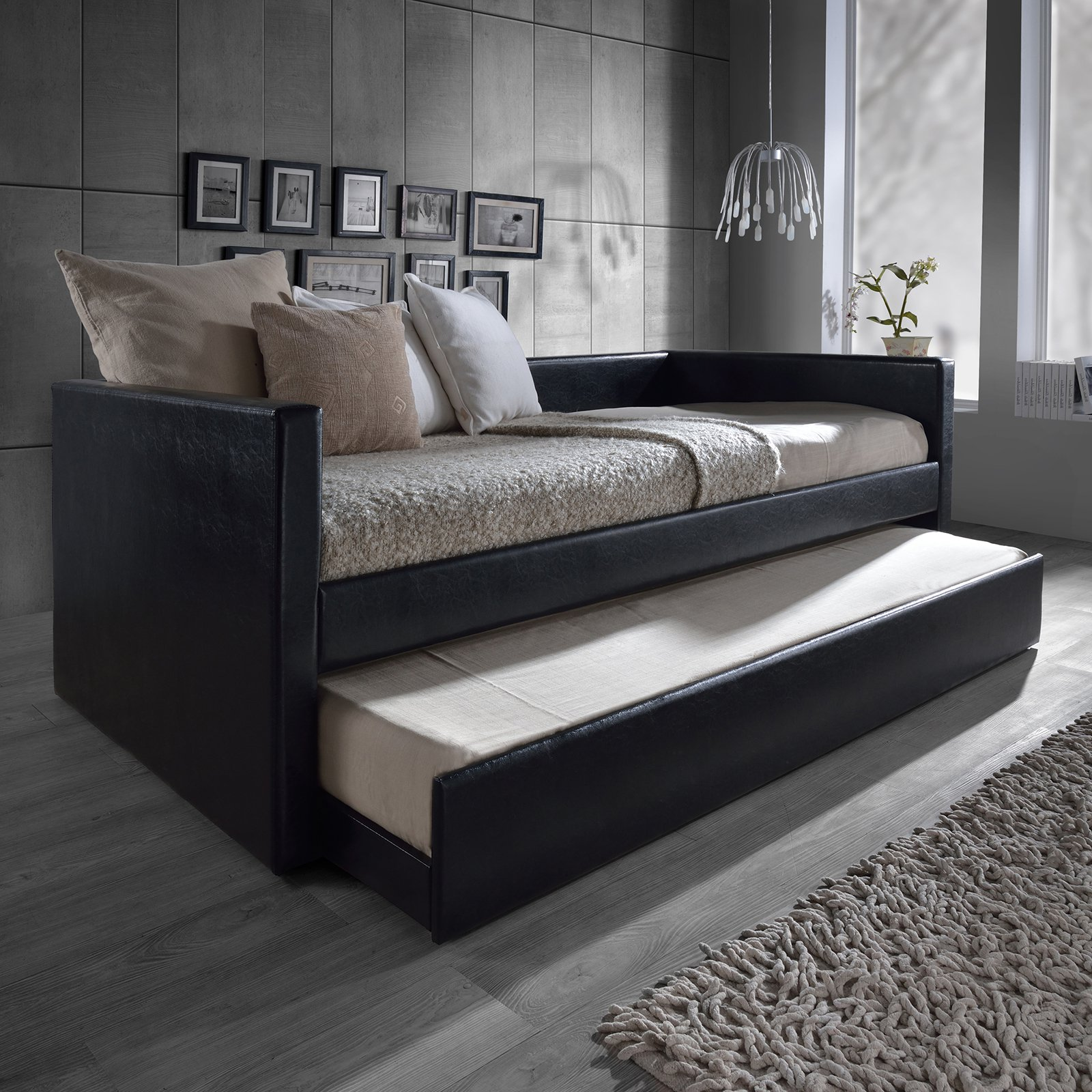 daybed with trundle. Wonderful With Baxton Studio Risom Modern And Contemporary White Faux Leather Upholstered  Twin Size Daybed Bed Frame With Trundle Multiple Colors  Walmartcom To With Trundle