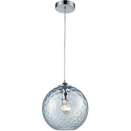 Pendants 1 Light With Polished Chrome Finish Aqua Hammered Medium Base 10 inch 100 Watts - World of Lamp