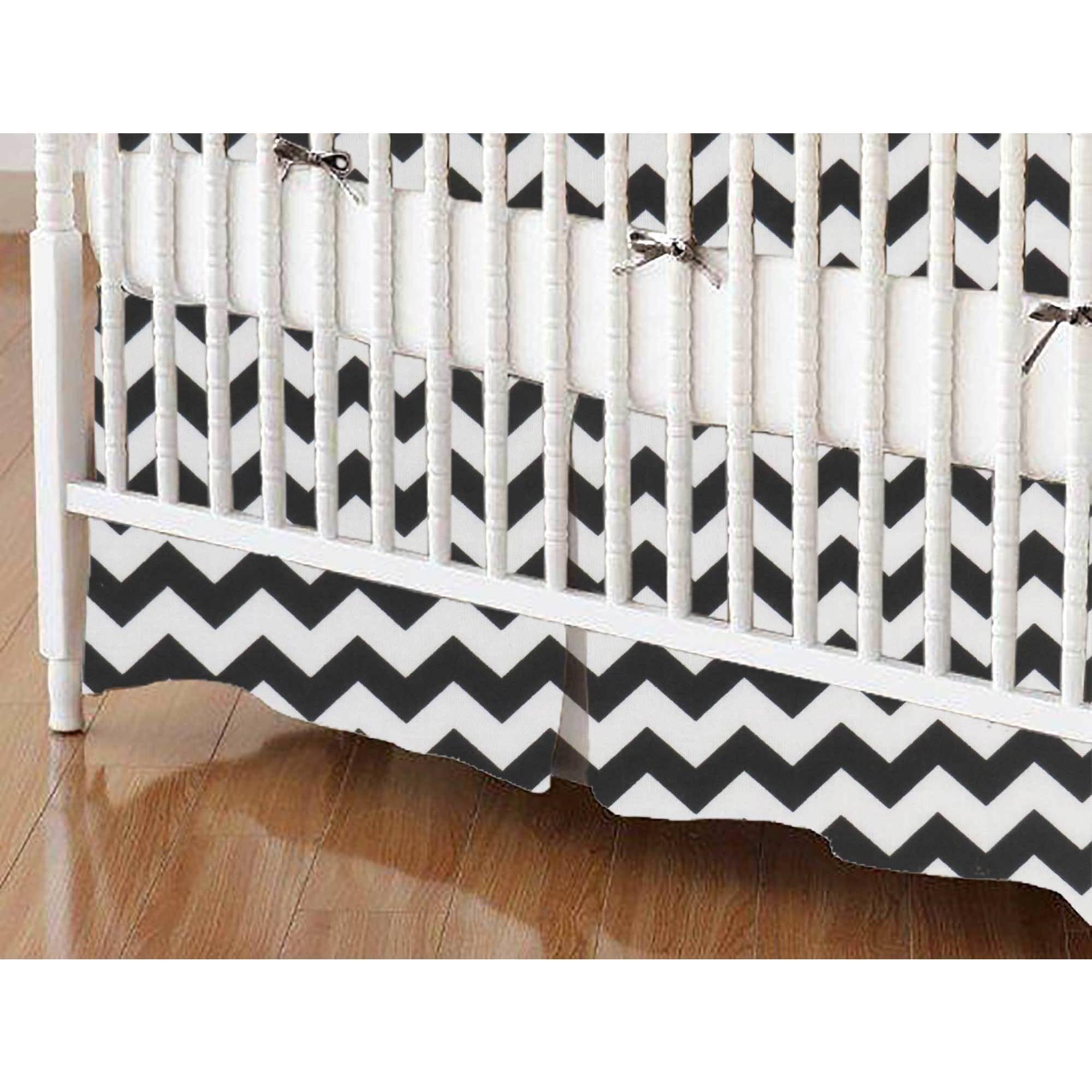 SheetWorld Crib Skirt - Black Chevron Zigzag