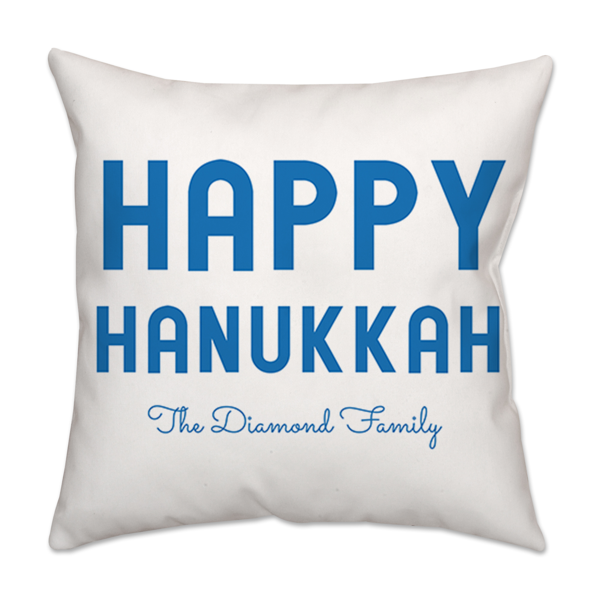 Personalized Bold Happy Hanukkah White and Blue Poplin Throw Pillow 18 X 18