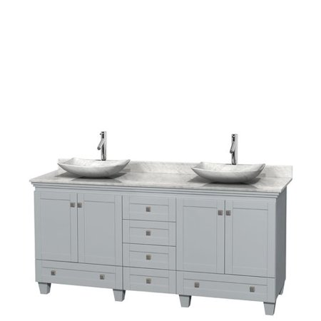 Wyndham Collection Acclaim 72 inch Double Bathroom Vanity in Oyster Gray, White Carrera Marble Countertop, Pyra Bone Porcelain Sinks, and No Mirrors