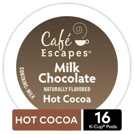 Café Escapes Milk Chocolate Hot Cocoa, Keurig K-Cup Pod, 16ct (Hot Chocolate K Cups Sampler)