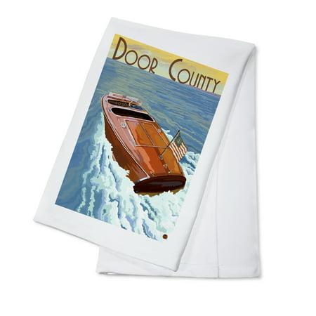 Door County, Wisconsin - Wooden Boat - Lantern Press Artwork (100% Cotton Kitchen -