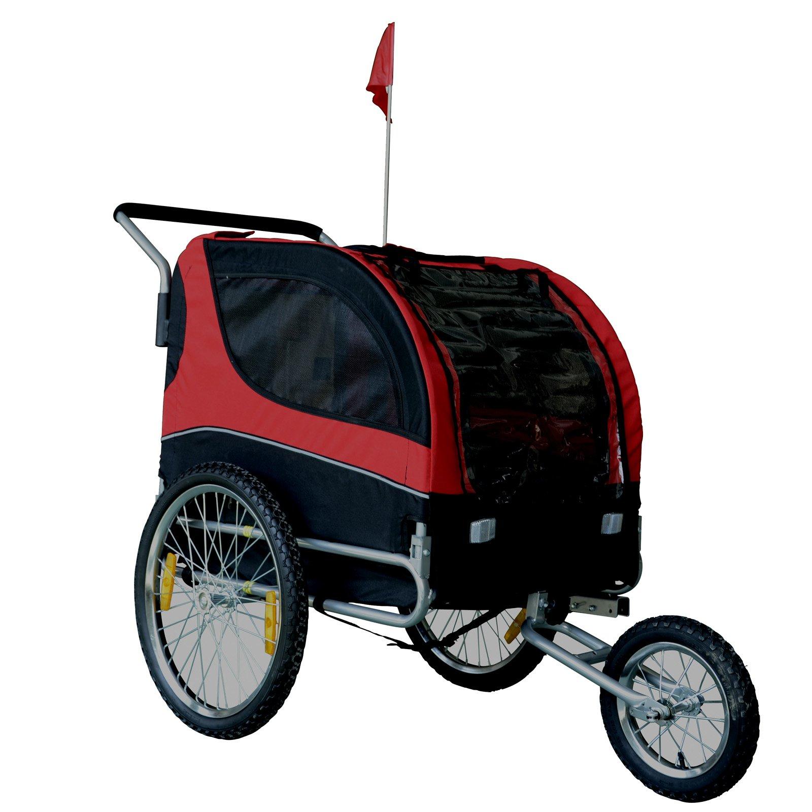 Mdog MK0291 Comfy Pet Bike Trailer & Jogging Stroller - Red/Black
