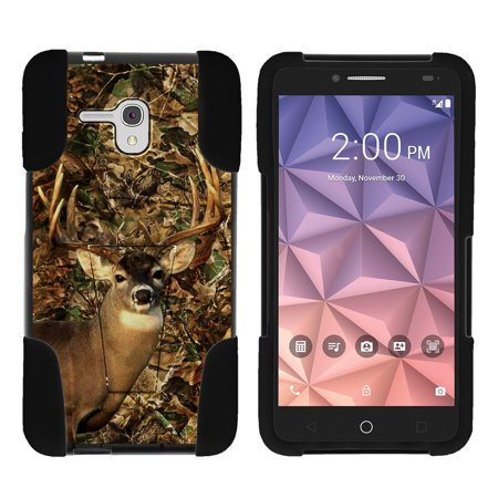 Alcatel One Touch Fierce XL 5054N STRIKE IMPACT Dual Layered Shock Resistant Case with Built-In Kickstand by Miniturtle® - Deer Hunting Camo ()