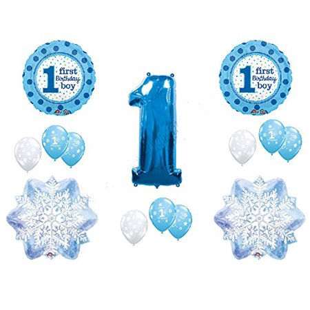 WINTER WONDERLAND 1derland BIRTHDAY party BALLOON set 14pieces BOY blue SNOWFLAKE one-derland - Winter Wonderland 1st Birthday Ideas