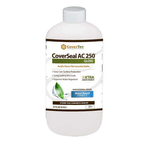 CoverSeal AC250 Gloss Clear Wet Look Sealer for Ceramic, Porcelain & Stone Tile Surfaces (1 Qrt - Prof Grade)