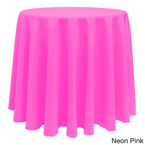 No Warranty Solid Color 108-inches Round Bright Colorful Tablecloth