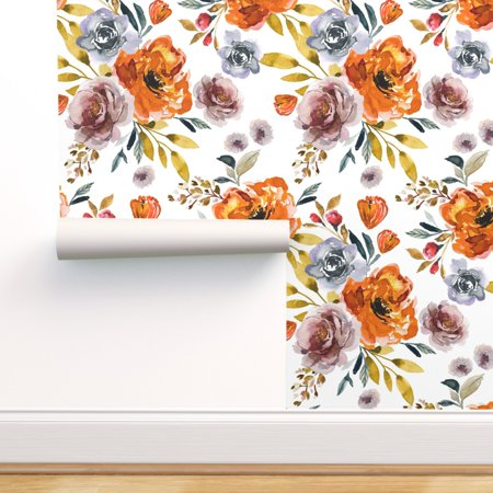 Peel-and-Stick Removable Wallpaper Indy Bloom Jumbo Floral Girls Room Fall Orange Peel Jumbo Cup