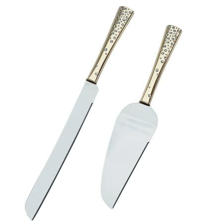 Crystal Collection Cake Knife & Serving Set in - Gold Cake Knife