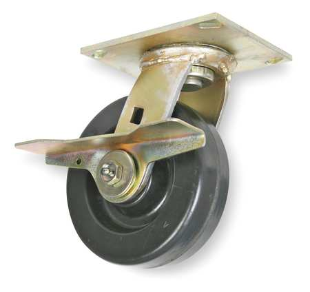 Swivel Plate Caster,Phenolic,8 in,1200 lb,Blk, 1NVL5