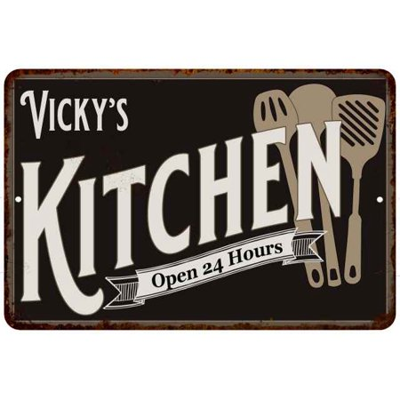 Vicky S Kitchen Personalized Sign Metal Wall Decor Dift 12x18 112180019380