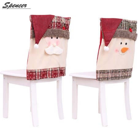 Spencer 1PC Christmas Chair Covers,Snowman Santa Claus Hat Chair Back Covers for Home Dining Room Decor
