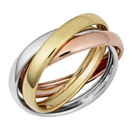 14K Gold Trinity Tri-Color Hollow Rolling (Trinity Rolling Ring)