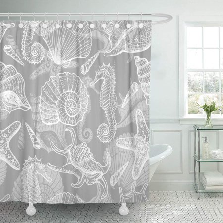 XDDJA Sea Seamless Pattern Original Illustration in Vintage Style Antique Shower Curtain 60x72 inch - image 1 of 1