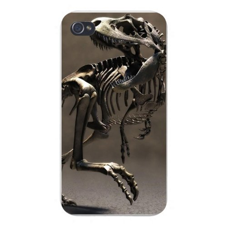 Apple Iphone Custom Case 4 4s White Plastic Snap on - Dinosaur Tyrannosaurus Rex Skeleton for $<!---->