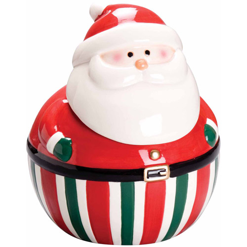 Gibson Home Big Santa Belly 3D Santa Claus Snack Jar and Lid