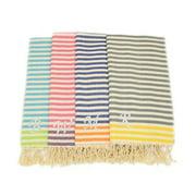 Authentic Hotel and Spa Authentic Pestemal Fouta Stripe Monogrammed Turkish Cotton Bath/ Beach Towel